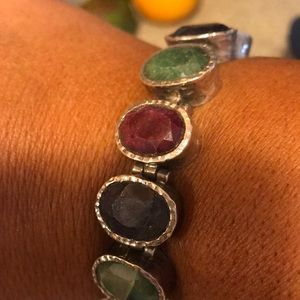 Absolutely stunning!silver raw stone bracelet